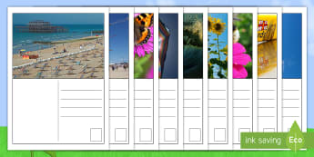 Summer Postcards English/Afrikaans - seasons, seisoene, writing, skryf, holiday, vakansie, EAL