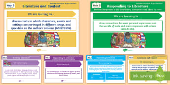 Australian Curriculum English: Year 3 Literature Content Descriptions Display Posters - Learning Intention, ACARA, WALT, Learning Objective, Learning Goal, Content Descriptors, Literature