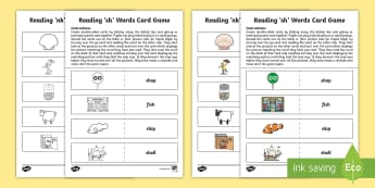 Reading 'sh' Words Card Game - CfE, early level, phonics, blending, digraphs, consonant digraphs, jolly phonics, letters and sounds