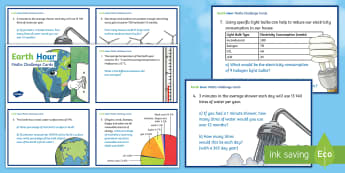 Earth Hour Maths Challenge Cards - Earth Hour, sustainability, environment, temperature, percent, power sources, water, hyrdo electrici
