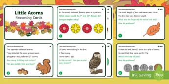 Little Acorns Year 1 Reasoning Skills Differentiated Maths Challenge Cards - twinkl originals, fiction, KS1, year one, challenges, acorn, oak tree, autumn, seasons, growing, pro