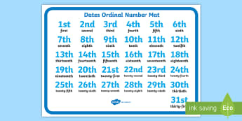 Dates Ordinal Number Activity Mat - Ordinal Number Mat (1 -31) - Ordinal numbers, writing aid, word mat, counting, 1st, 2nd, 3rd, first,
