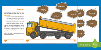 Dumper Truck of Emotions Activity Sheet - emotion, behaviour, young people, sadness, feelings, worksheet