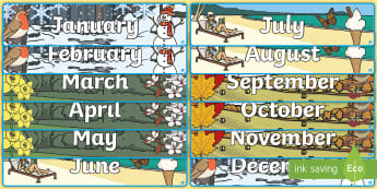 Months of the Year Illustrated Seasons Banner Display Pack - stick man, Months of the Year With Seasons Theme Display Posters - months, year, display, months of