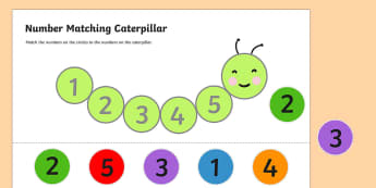 Number Matching Caterpillar Activity - number, match, caterpillar