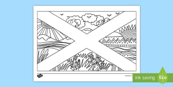 Scotland Flag Mindfulness Colouring Page - cfe, scotland, mindfulness, colouring, sheets, colour, fine motor skills