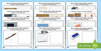 Workstation Pack: Photo to Photo School Objects Matching Activity - English / Spanish  - EAL, Workstation Packs, TEACCH, ASD, autism, early intervention, symbolic understanding, PECS.,Spani