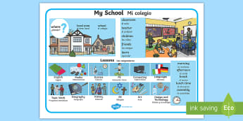 * NEW * My School Word Mat - English / Spanish  - EAL, My School Word Mat - my school, word mat, word, mat, school, wordmat,Spanish-translation