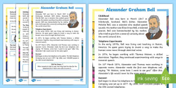KS1 Alexander Graham Bell  Differentiated Fact File - telephone, inventions, electric, significant individuals, scientist