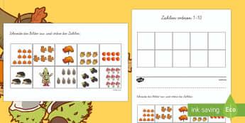 Zahlen 1 bis 10 Bilder Ausschneiden und Ordnen Arbeitsblatt: Zahlen