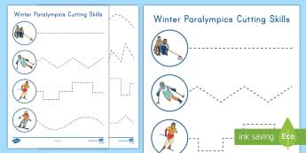 Winter Paralympics Cutting Skills Activity Sheet - Scissors, Ice Sledge Hockey, Para Cross Country Skiing, Para Alpine Skiing, worksheet, Wheelchair Cu
