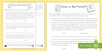 Fiction or Non-Fiction? Activity Sheet - Fiction, non-fiction, Genre, Common Core, ELA , worksheet