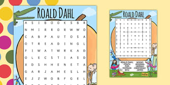 Roald Dahl Themed Wordsearch - word search, stories, books
