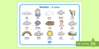 Weather Word Mat English/Italian - Weather Word Mat - Weather display, KS1, word mat, mats, writing aid, Weather, weather chart, weathe