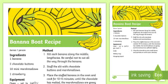 Banana Boat Recipe - Transport and Travel, banana, chocolate, marshmallow, dessert, recipes