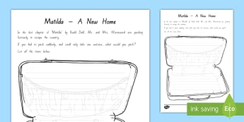 Pack a Suitcase Activity  to Support Teaching On Matilda Chapter 21 - Chapter chat year 3 and 4, chapter chat nZ, Chapter chat, novel studies, matilda, roald dahl, readin