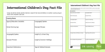International Children's Day Fact File Worksheet / Activity Sheet - CfE, calendar events, traditions, history, celebrations, international children's day, celebrating