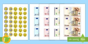 Imágenes para recortar: Euros - euros, billetes, monedas, dinero, juego de rol, juego simbólico, tienda,Spanish