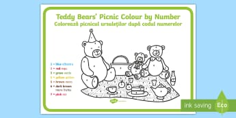 Teddy Bears' Picnic Colour by Number English/Romanian - teddy, colour, game, count, EAL