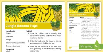 Jungle Banana Pops Recipe - Jungle and Rainforest, fruit, mango, banana, pineapple, chocolate