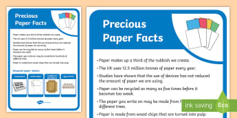 Precious Paper Facts Display Poster - tidy kiwi, New Zealand, rubbish, recycling, Years 1-6, paper, display poster