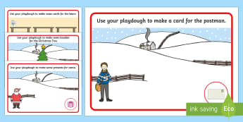 Playdough Mats to Support Teaching on The Jolly Christmas Postman - playdough, christmas