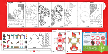 Christmas Paper Craft Activity Pack English/Hindi - craft pack, easy craft, decoration, holidays, festival, celebration, simple, homemade, fun