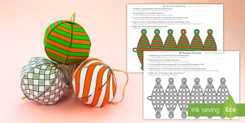 Simple 3D Christmas Ornament Paper Craft US English/Spanish (Latin) - Christmas, bauble, Christmas tree, 3D, paper craft, esl, eal