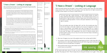 'I Have a Dream' - Looking at Language Activity Sheet - black history month, black history, martin luther king jr, martin luther king, civil rights, I have