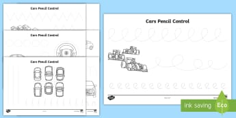 Car Pencil Contol Activity Sheets - cars, transport, fine motor skills, handwriting practice, tracing, pencil control patterns,  workshe