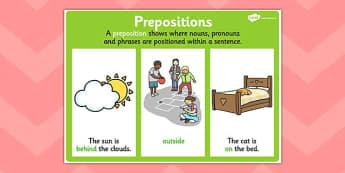 Preposition Display Poster - preposition, grammar, literacy