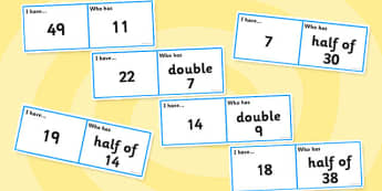 Doubles and Halves Loop Cards - loop cards, cards, double, half