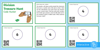 Division Treasure Hunt Code Hunter - QR Codes, division, self assessment, quotient