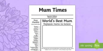 Mother's Day Newspaper Card Template English/Polish - mothers day, template , newpaper, tempelte, templet,EAL,Polish-translation, news, newspaper, mum, be