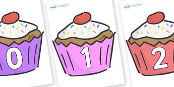 Numbers 0-31 on Cupcakes - 0-31, foundation stage numeracy, Number recognition, Number flashcards, counting, number frieze, Display numbers, number posters