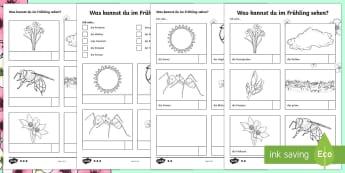 Spring Vocabulary Hunt Activity Sheets German - Spring, Frühling, German, Seasons, Outdoor Learning, worksheets