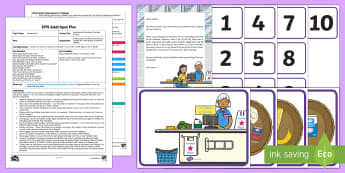 EYFS Supermarket Checkout Counting Activity Adult Input Plan and Resource Pack - EYFS, Early Years Planning, Adult Led, Mathematics, Maths,  40-60, Selects The Correct Numeral To Re