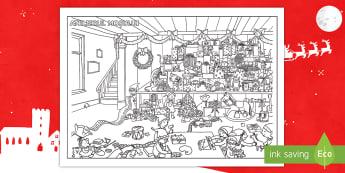 Colorează atelierul Moșului Activitate - craciun, cadou, servet de masa, coloreaza, craciunul, crăciunul, crăciun, activități, Romanian