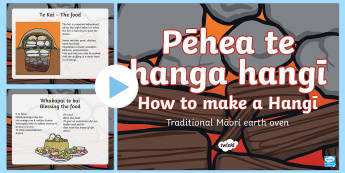 How to Make a Christmas Hangī PowerPoint Te Reo Maori/English - New Zealand Christmas, hangī, earth oven