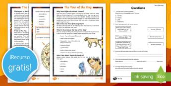 Comprensión lectora: El año del perro - Año nuevo chino, anio nuevo, año nuevo, china, chinos, culturas, cultural, festividad, fiesta, ide