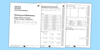 First Level Assessment: Number, Money and Measure - Number Processes - Multiplication - CfE, numeracy, multiplication, number, assessment
