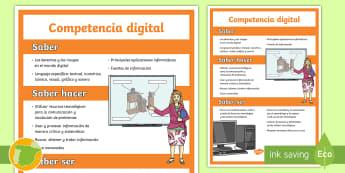 Póster: Las competencias clave - Competencia digital - CCBB, Competencias Básicas, Competencias Clave, Lomce