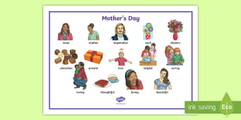 Mother's Day Illustrated Word Mat - mothers day, mothers, day, wordmat, spelling help