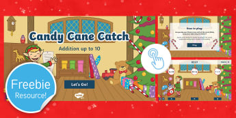 Candy Cane Catch: Addition to 10 Game - twinkl go, go, christmas, maths, adding, addition, plus, sums, elf game, candy canes, addition to 10