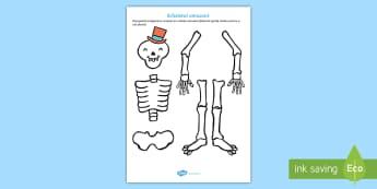 Scheletul amuzant - schelet, corpul uman, română, materiale, fișe, stiinte, stiintele vietii, corp, om, oase, Romania