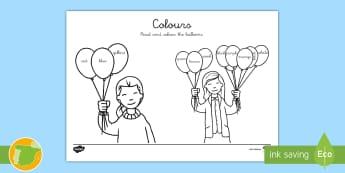 Ficha de actividad: Lee y colorea los globos en inglés - colores, Colours, Colour, Balloons, Read, EFL, ESL