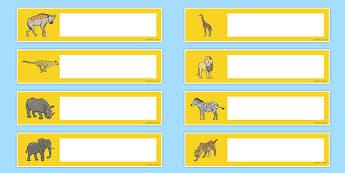 Safari Themed Editable Gratnells Tray Labels - tray label, safari