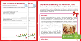 Why Is Christmas Day on December 25th? Differentiated Activity Sheet - Saturnalia, Saturn, Romans, Sol Invictus, Winter, Solstice, Christianity, Yule, Pagan, worksheet