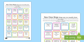 New Class Bingo - English/French - transition, games, classroom games, preparation, trasition, moving up