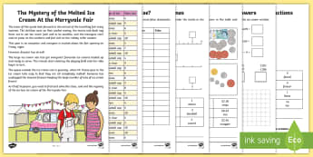 LKS2 The Mystery of the Melting Ice Creams Maths Game - maths, ks2, lower key stage 2, LKS2, year 3, year 4, yr 3, yr 4, mproblem solving, maths challenge,